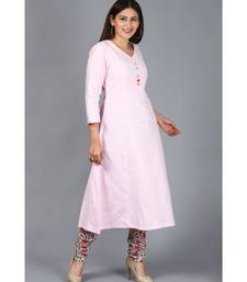 Blush Pink Kali Kurti with Printed Churidaar