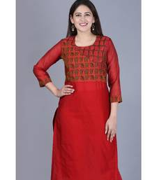 Maroon Balance Chanderi Kurti with Leggings