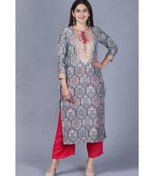 Slate Gray Mughal Printed Gotta Straight Kurti with Straight Palazzo