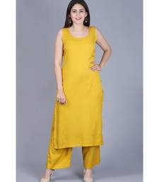 Mustard Fire Straight Rayon Kurti with Straight Palazzo