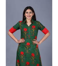 Bold Green Floral Floor Length Kurti
