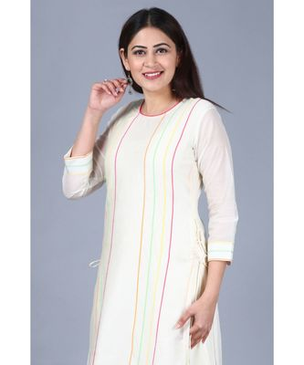 Off-White Freedom Double Layered Kurti with Straight Pants
