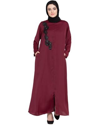 Maroon Embroidered Nida Abaya