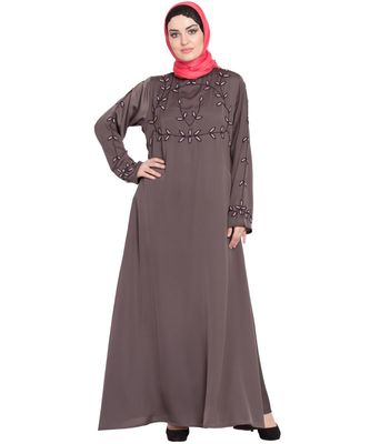 Brown Embroidered Nida Abaya