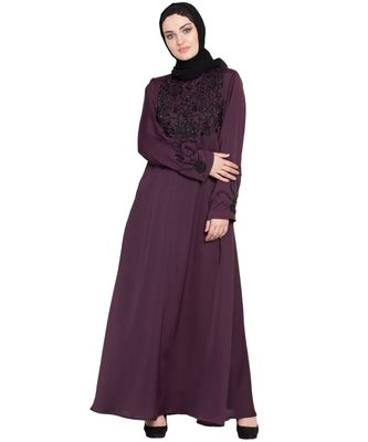 Violet Embroidered Nida Abaya