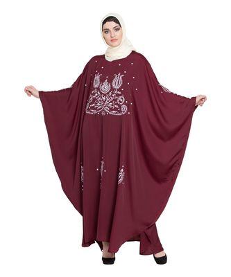Maroon Embroidered Nida Abaya