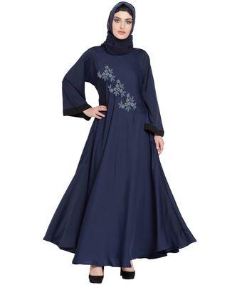 Blue Embroidered Nida Abaya