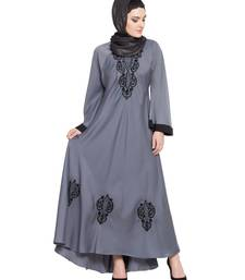 grey embroidered nida abaya