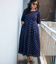 Navy-blue printed cotton cotton-kurtis