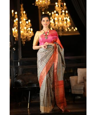 Multicolor Hand Block Print Tussar Silk Saree