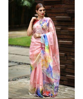 Multicolor Handwoven Printed Linen Saree