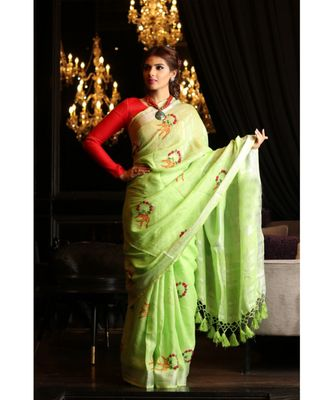 Green Shade Handwoven Linen Hand Embroidered Saree