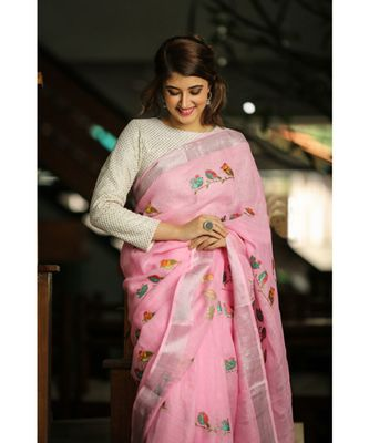Pink Shade Embroidered Handwoven Linen Saree with Zari Border