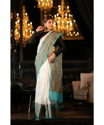 White Handwoven Linen Banarasi Saree