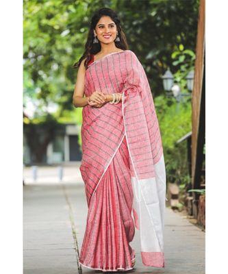 Pink Shade Handwoven Linen Saree