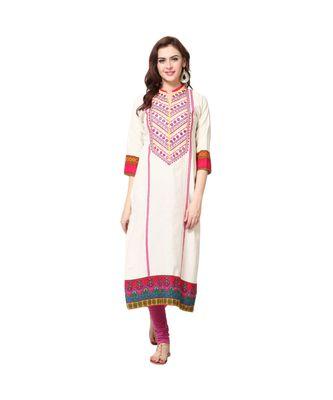 off white embroidered cotton stitched kurti