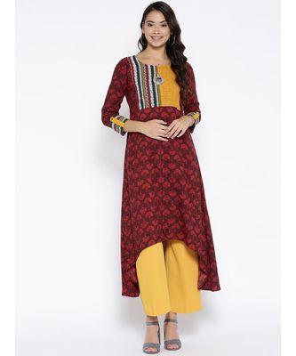 maroon printed rayon stitched kurti