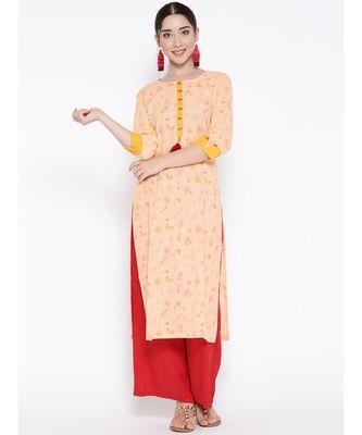 peach printed cotton stitched kurti