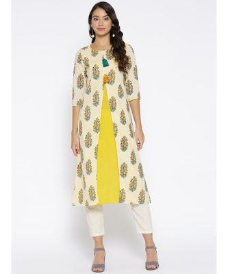off white printed cotton stitched kurti