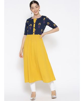 yellow printed cotton stitched kurti