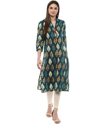 green printed cotton stitched kurti