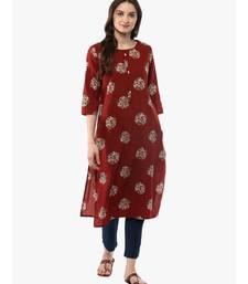 brown printed cotton stitched kurti
