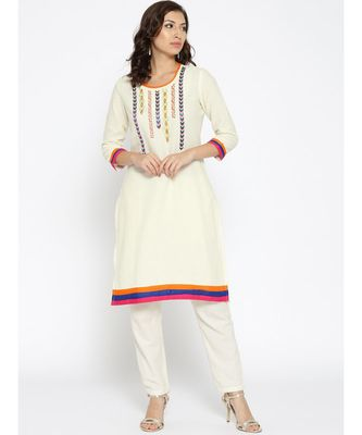 off white embroidered cotton stitched kurti