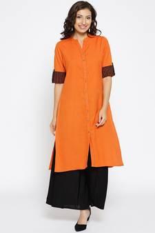 58fbc8add492e Orange Kurti Online   Buy Plain Orange Kurtis with Embroidery Neck ...