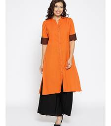 orange plain cotton stitched kurti