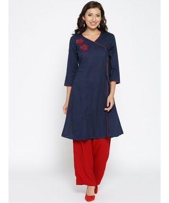 blue embroidered cotton stitched kurti