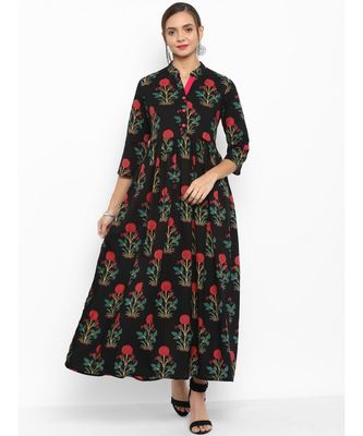 black printed cotton stitched kurti