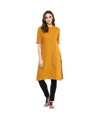 mustard plain cotton stitched kurti