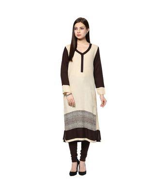 Beige printed rayon stitched kurti