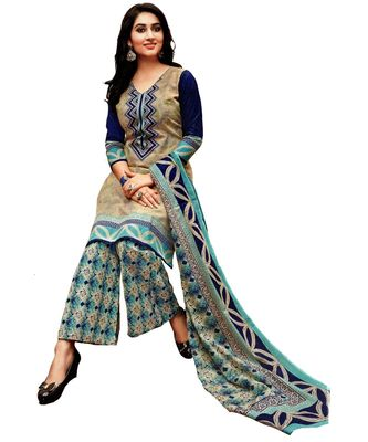 Beige Printed Cotton Unstitched Salwar With Dupatta