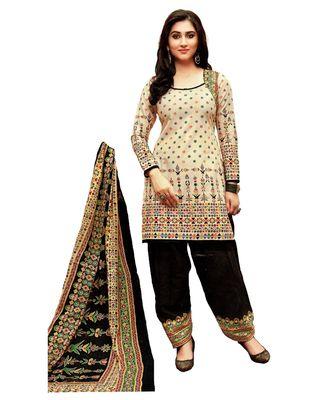Beige Printed Cotton Unstitched Salwar With Dupatta
