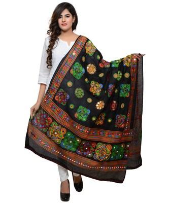 Women's Pure Cotton Aari Embroidery & Foil Mirrors Dupatta (Chakachak) Black - CHK01