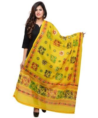 Women's Pure Cotton Aari Embroidery & Foil Mirrors Dupatta (Chakachak) Lemon Yellow - CHK08