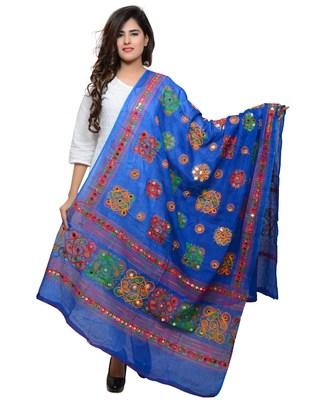 Women's Pure Cotton Aari Embroidery & Foil Mirrors Dupatta (Chakachak) Blue - CHK12