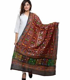 Women's Pure Cotton Aari Embroidery & Foil Mirrors Dupatta (Bharchak) Black