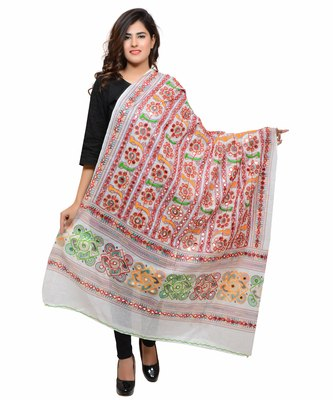 Women's Pure Cotton Aari Embroidery & Foil Mirrors Dupatta (Bharchak VIP) White - VIP02