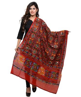 Women's Pure Cotton Aari Embroidery & Foil Mirrors Dupatta (Bharchak VIP) Red - VIP03
