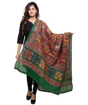 Women's Pure Cotton Aari Embroidery & Foil Mirrors Dupatta (Bharchak VIP) Dark Green  - VIP05