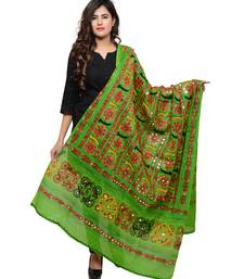 Women's Pure Cotton Aari Embroidery & Foil Mirrors Dupatta (Bharchak VIP) Parrot Green - VIP06