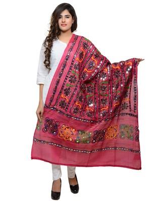 Women's Pure Cotton Aari Embroidery & Foil Mirrors Dupatta (Bharchak VIP) Pink - VIP09