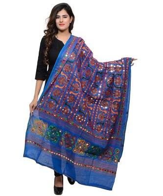 Women's Pure Cotton Aari Embroidery & Foil Mirrors Dupatta (Bharchak VIP) Blue - VIP12