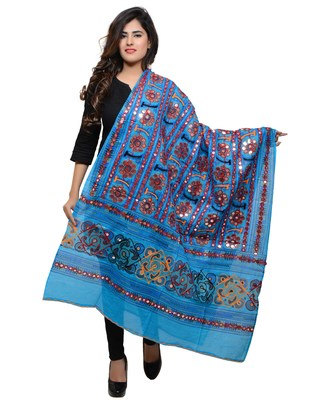 Women's Pure Cotton Aari Embroidery & Foil Mirrors Dupatta (Bharchak VIP) Turquoise - VIP13