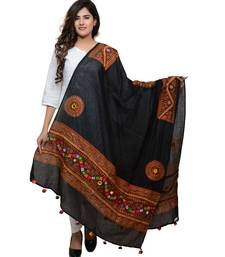 Women's Pure Cotton Real Mirrorwork & Hand Embroidery Dupatta (Kuchi Lehriya) Black - KCH01