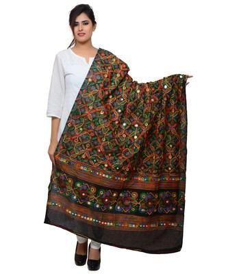 Women's Pure Cotton Aari Embroidery & Foil Mirrors Dupatta (Rasna) Black - RSN01