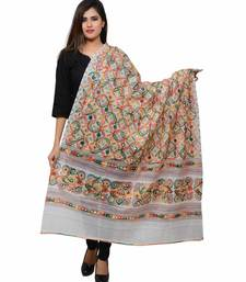 Women's Pure Cotton Aari Embroidery & Foil Mirrors Dupatta (Rasna) White - RSN02
