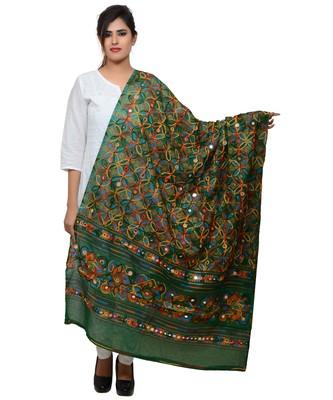 Women's Pure Cotton Aari Embroidery & Foil Mirrors Dupatta (Rasna) Dark Green  - RSN05
